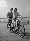 1950s Happy Couple Man Woman Riding Tandem Bike Bicycle Built for 2
