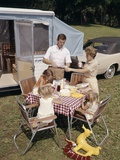 1960S Family Father Mother Three Daughters Eating Meal by RV Camper