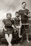 1890s-1900s Family Wearing Antique Bathing Suits in Seashore Studio