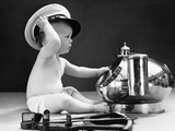 1940s Baby in Diaper with Ship Captain Hat Sextant and Nautical Compass