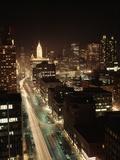 1960s Night Michigan Avenue Chicago Elevated View Illinois Retro