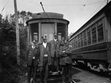 1900s Conductors Posing in Front of Trolley Car