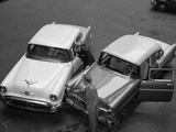 1950s-1960s Automobile Fender Bender Accident in Parking Lot