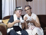 1950s Two Elderly Drinking Tea Gossiping Hair in Curlers