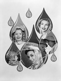 1950s-1960s Rain Motif Montage with Faces in Rain Gear Superimposed Inside Raindrops