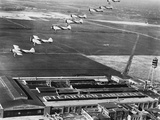 Aeroplanes Flying Above Stearman Aircraft Factory  1941