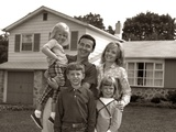 1960s Family Portrait Outside Suburban House Parents 3 Three Kids