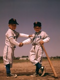 1960s Two Boys Playing Little League Baseball Shaking Hands