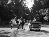 1920s-1930s Couple on Horses Meeting Woman on Road in Convertible Touring Car