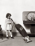 1930s Little Girl Vacuuming with Eureka Electric Vacuum Cleaner