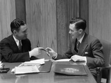 1930s Two Men in Office Exchanging Pen Signing Contract Deal