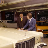 1970s Car Salesman Trying Sell White Car African-American Buyer
