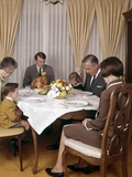 1960s-1970s Three Generation Family Saying Grace Prayer at Thanksgiving Dinner