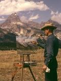 1950s-1960s Man Artist Smoking Pipe Painting Mountain Landscape Grand Tetons Wyoming