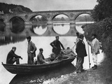 Fishermen Boating on the River Tweed by Coldstream Bridge