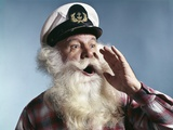 1960s Senior Man Full White Beard Wear Ship Captains Hat Shouting with Hand Cupped to Mouth