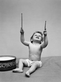1940s Baby in Diaper with Drum Holding Up Drumsticks