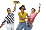 1990s Three Young Adults Dancing with Boom Box Radio