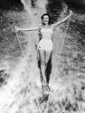 1950s Woman in Two Piece Bathing Suit Aquaplaning Water Skiing