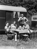 1940s Men Women Couples Camping Trailer Picnic Vacation Lunch