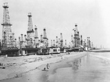 Oil Derricks on a Beach in California