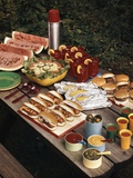 1950s Picnic Table Top Full of Food Corn Hot Dogs Hamburgers Watermelon Salad Thermos Condiments