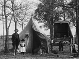 19th Century Gypsy Camp Family Father Mother Daughter in Front of Tent Next to Wagon