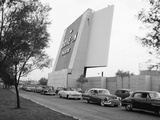 1950s Cars in Traffic Jam Leaving Entering Drive-In Theatre