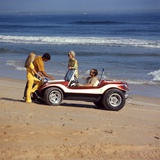 1970s 2 Couples Men Women on Beach with Red White Dune Buggy