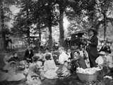 1890s-1900s Group Having Picnic in Woods with Horses and Wagons in Background