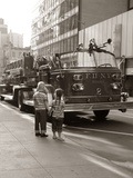 1970s 2 Children Boy Girl Holding Hands Looking at Fire Truck Parked on Street New York City