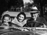 1930s Family Portrait Man Father Woman Mother Boy Son Riding in Convertible Automobile
