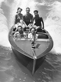 1930s Couples Five Men and Women Riding in Runabout Power Boat