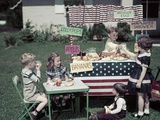 1950s Girls and Boys in Business with a Lemonade and Snack Food Stand on the 4th of July