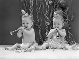 1940s Twin Babies with Party Hats Horns and Paper Streamers New Year Celebration Studio