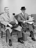 1950s-1960s Two Men Businessman Salesman Sitting in Office Reception Waiting Area Indoor