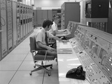 1960s-1970s Computer Room Mission Control Center Houston Texas 2 Men Sitting at Console