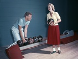 1950s Laughing Couple Man Woman Bowling