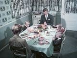 1950s Family of 5 Saying Grace before Thanksgiving Turkey Dinner Mother Father 3 Children