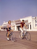 1950s Teen Couple Riding Bikes on the Boardwalk Jersey Shore