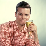 1960s Man Red Checked Shirt Drinking Beer from Pilsner Glass