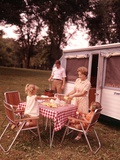 1960s Family Rv Camping Father Grilling Mother and Girls Setting Table