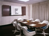 1960s Office Conference Room with Table Chairs Writing Pads Ashtray and Wall Chart
