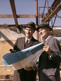 1960s Two Men with Blueprints at Construction Site