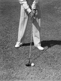 1930s-1940s Man Waist Down with Golf Club Addressing Ball