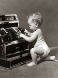 1940s 1930s Salesperson Baby Wearing Diaper Ringing Up Sale on Cash Register
