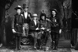 1890s-1900s Portrait Five Men Actors in Various Costumes Against Painted Studio Backdrop