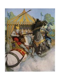 Illustration of Sir Mador Jousting with an Opponent