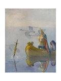 Illustration of King Arthur Receiving Excalibur from the Lady of the Lake