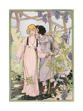Illustration of a Couple in an Arbor